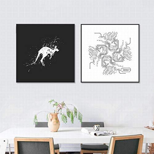 Nordic Decoratieve Canvas Schilderij Wall Art Moderne Banksy Zwart-wit Animal Print Schilderij Herten Zebra Lion Home Woonkamer 40x40cmx2 Geen Frame