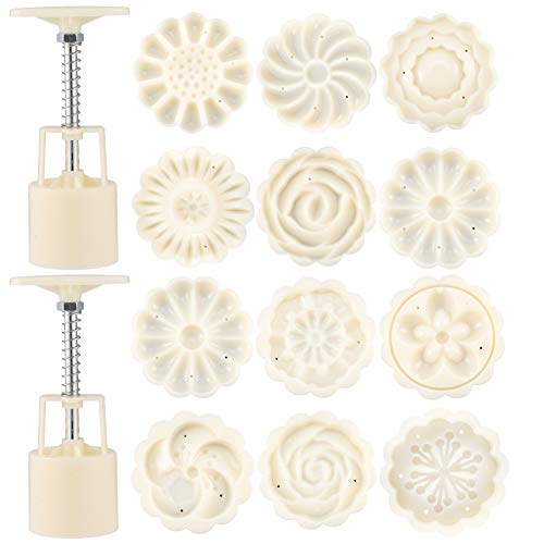 Auxsoul 2 Packs Moon Cake Mold Cutter Cookie Press Cake Stamp with 12 Stamps, Flowers Design Cookie Stamp for Mid Autumn Festival DIY Decoration Mooncake Press Molds (White)