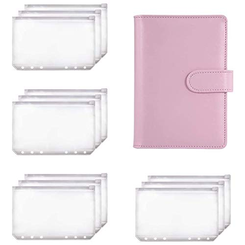 Midream Carpeta A6 Planificador de cuadernos rosa y 12 unidades de 6 agujeros carpeta con cremallera bolsillos para carpetas, sobres de efectivo