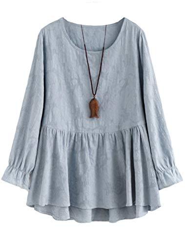 Mallimoda Damen Tunika Kleid Langarm Freizeit Oberteil Rundhals Lange Shirts Bluse Top Hellblau D-XL