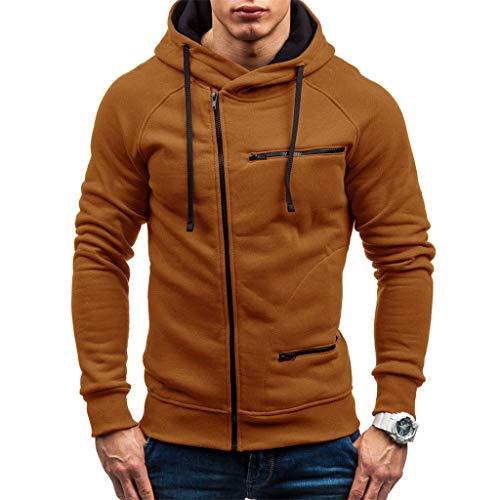 EUCoo - Sudadera para hombre con capucha y cremallera para otoño con capucha y capucha caqui M