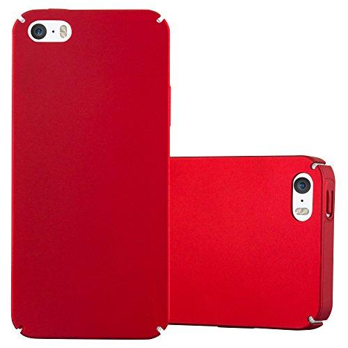 Cadorabo Hülle für Apple iPhone 5 / iPhone 5S / iPhone SE - Hülle in Metall ROT – Hardcase Handyhülle im Matt Metal Design - Schutzhülle Bumper Back Case Cover