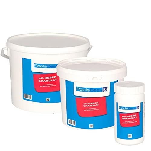POOLSBEST® 1 kg pH Heber Granulat für Pools - wirksames Granulat inklusive Messbecher - pH Plus zur optimalen pH-Wert Stabilisierung