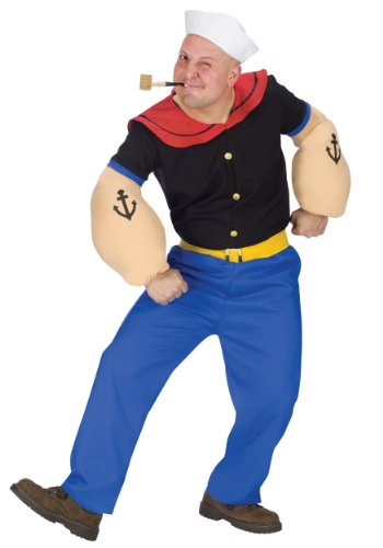 Adult Popeye Fancy Dress Costume Standard