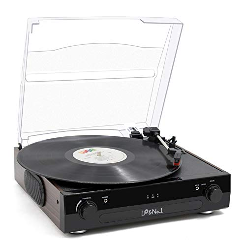 LP&No.1 All-in-One Bluetooth Record Player with Built-in Speakers, 3-Speed Turntable,Supporting Vinyl to MP3 Recording,RCA Output and Aux Input,Wood