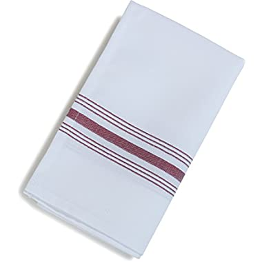 Carlisle 53771822NH023 Restaurant Quality Cloth Dinner/Bistro Napkins, 18  x 22 , Maroon Stripe (Pack of 12)