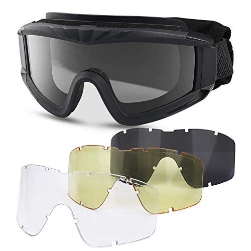 Freshday Tactical Safety Goggles,Outdoor Airsoft Goggles Army Military Goggles Anti-Fog Anti-dust Glasses with 3 Interchangeable Lenses for Shooting,Hunting,Paintball,Riding,Cycling