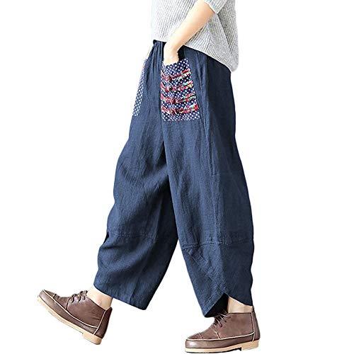 Hwayslon Women's Baggy Linen Wide Leg Trousers Casual Patchwork Elastic Waist Harem Pants Harlan Pants M -XXL (Navy Blue, XL)
