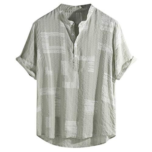 Hombre Cuello En V Camisetas Manga Corta de algodón y Lino Estampado en Color Botón En Slim para Camisa Moda Blusa Superior Retro Henley Camisas 3 Colores M-4XL