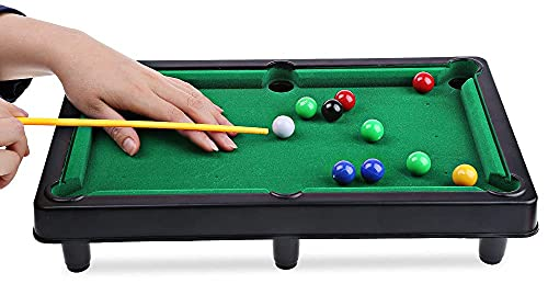 Confidence Mini Pool Toy Snooker Table Game for Kids with 10 Balls and 2 Sticks (Multicolor)