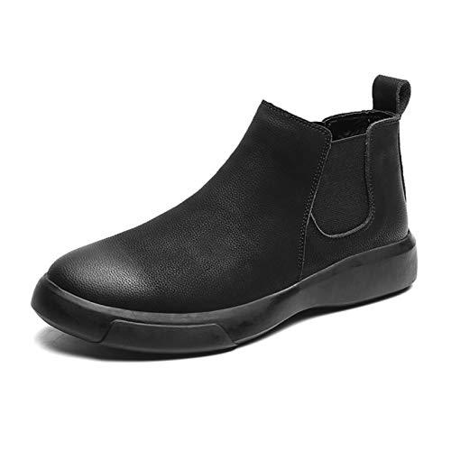 Zapatos casuales Botas para hombres, suela de goma gruesa con banda elástica redonda, suela plana de cuero sintético con grifo central pulido (Color : Black, Size : 42 EU)