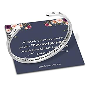 Bracelets for Women Personalized Gifts, Stainless Steel Engraved Funny Quote Inspirational Bracelet Birthday Christmas Funny Gifts for Friend, Mom, Sister, Daughter, Personalized Gift for Her