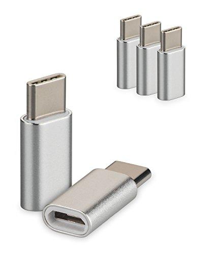 yayago 3er Set USB 3.1 Typ-C auf Micro USB Adapter für Acer Liquid Jade Primo/Asus Zenfone 3 Zoom/Asus Zenfone AR/Chuwi Hi 10 Pro/Medion Akoya P3401T Typ C Kabel Stecker Silber