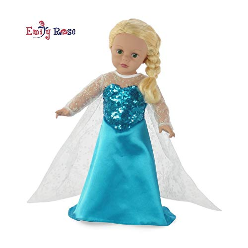 Fits 18' American Girl Dolls | Princess Elsa Frozen Inspired Dress | 18 Inch Doll Clothes Outfit Costume Gown