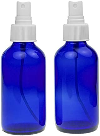 2 Empty Blue Glass Spray Misters - 4oz Refillable Bottle is Great for Essential Oils, Organic Beauty Products, Homemade Cleaners and Aromatherapy with White Fine Mist Dispenser - 2 Pack of Bottles