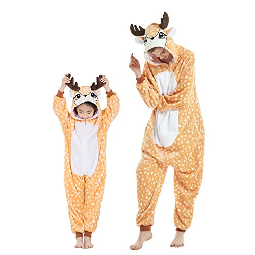 DEBAIJIA Pijama Animal para Niños Niñas Disfrace Franela Traje del Anime Invierno Calentito Pyjamas Navidad Onsie Ciervo Amarillo Oscuro - 105
