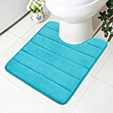 Buganda Memory Foam Contour Toilet Bath Rug, U-Shaped Non Slip Absorbent Thick Soft Washable Bathroom Rugs, Floor Carpet Bath Mat for Bathroom Sink Toilet (20' x 24', Peacock Green)