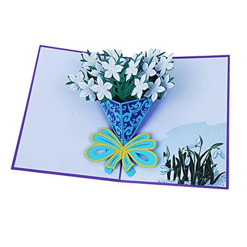 HONGREE 3D-Pop-Up-Karte mit Lilien-Blumenstrauß, zum Muttertag, zum Jahrestag, zu Ostern, zum Geburtstag, flach gefaltet für den Versand