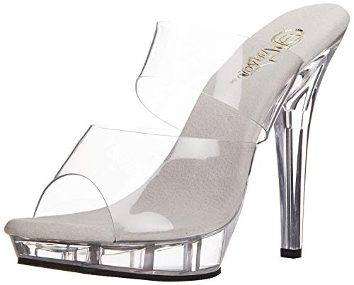 Pleaser LIP-102, Damen Sandalen, Transparent (durchsichtig), 41 EU (8 UK)