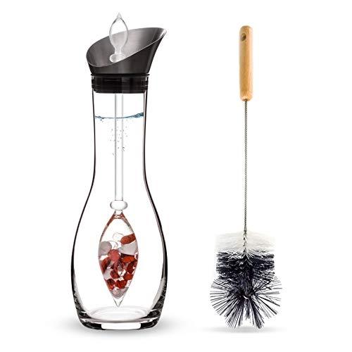 VitaJuwel FITNESS Edelsteinwasserset für Zuhause (Karaffe Era & Phiole & Reinigungsbürste) mit Roter Jaspis, Magnesit & Bergkristall