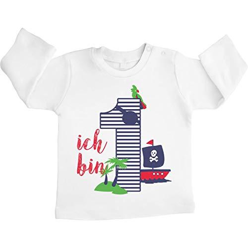 Shirtgeil 1 Geburtstag Piraten Geschenk Baby Jungen Langarmshirt 12-18 Monate Weiß