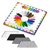 CreativaMente - Tarjetas precortadas y con guías de Plegado para Hacer Origami 3D, Color Negro, Blanco, Gris Piedra, 871