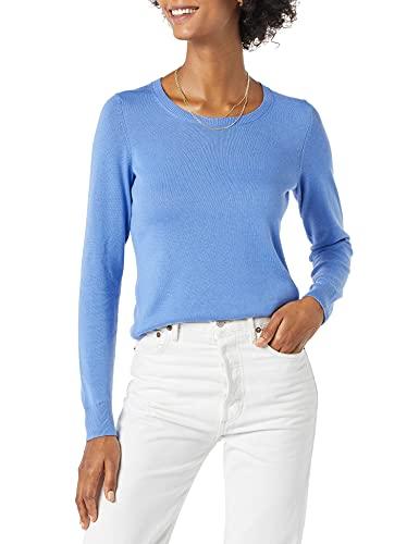 Amazon Essentials Women's Classic Fit Lightweight Long-Sleeve Crewneck Sweater, Blue, X-Small