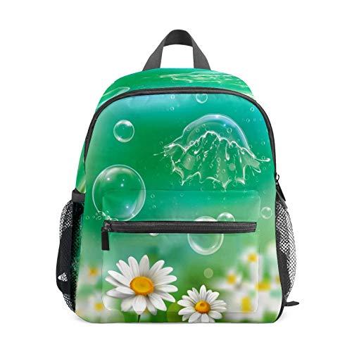Kinder-Rucksack für Vorschule, für Jungen und Mädchen, leicht, für 1–6 Jahre, perfekter Rucksack für Kleinkinder im Kindergarten, Seifenblasen, schwebende weiße Gänseblümchen, Grün
