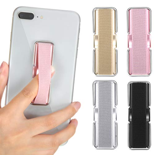 4 Pieces Finger Strap Phone Holder Elastic Finger Holder Cell Phone Grip Holder Finger Strap with Stand for Smartphones, Small Tablets