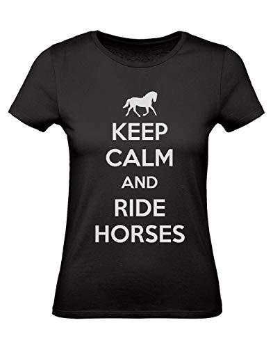 Green Turtle T-Shirts Camiseta para Mujer - Keep Calm and Ride Horses - Regalo Original para los Amantes de los Caballos y la Equitación Small Negro