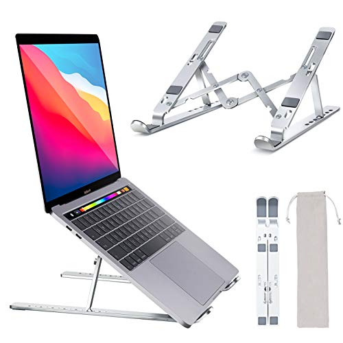 """Laptop Stand, Amoner Adjustable Tablet Stand, Aluminum Air-Ventilated Computer Stand Laptop Riser for Desk, Compatible MacBook Air Pro, HP, Lenovo, Dell, and More Laptop, Tablet Under 17"""""""