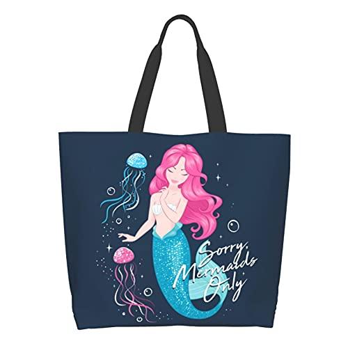 Bolso de mano casual grande de las mujeres bolso de hombro reutilizable multiusos bolsas de compras para comestibles viajes al aire libre, Medusa de sirena, Talla única