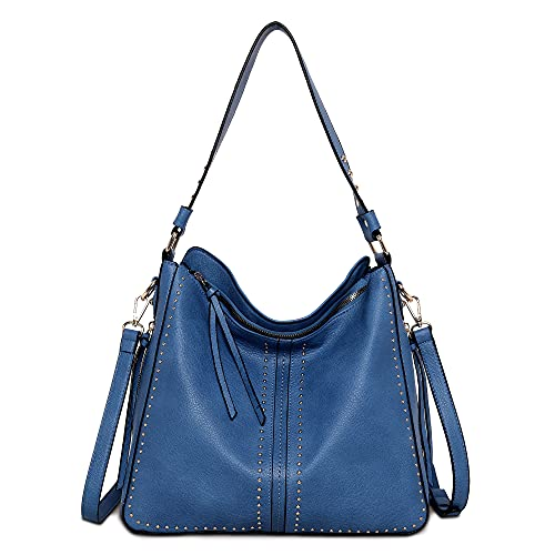Large Hobo Handbag for Women Studded Leather Shoulder Bag With Crossbody Strap MWC-1001 BLUE