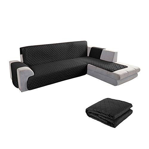 willkey - Funda de sofá esquinero impermeable de doble cara reversible reversible para sofá en forma de L, acolchada y cómoda para niños y mascotas (200 cm), color negro
