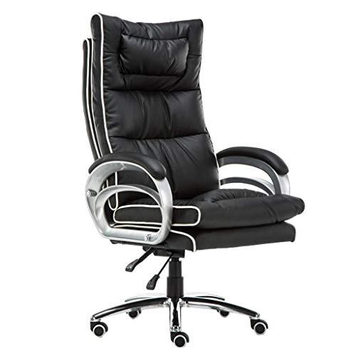 Kantelbare stoel met grote rugleuning van 76 cm en schommelfunctie, bureaustoel, bekleed, PU-leer, hoofdkussen voor lumbale wervelkolom. C
