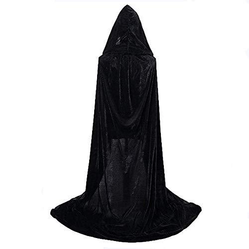 Mantello con Cappuccio,Velluto Mantello Adulto Halloween Lungo Mantello Halloween Costume da Fantasma Unisex Strega Vampiro Mantello(M, Nero)