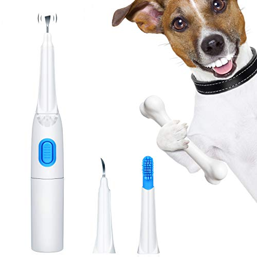 Ultrasonic Dog Tartar Cleaner Electric with 3 Clean Head, Stainless Tooth Scaler...