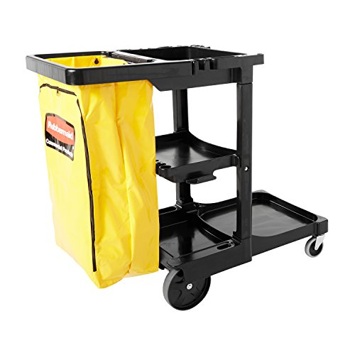 "Rubbermaid Commercial Traditional Janitorial 3-Shelf Cart, Wheeled with Zippered Yellow Vinyl Bag, Black, FG617388BLA, 38.4"" x 21.8"" x 46"""