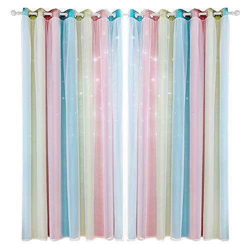 BOxinkk Vorhang mit Garn,Hohlsternvorhang mit Farbverlauf,Schlafzimmer Vorhänge,Wohnzimmer Vorhänge,Verdunkelungsvorhänge 2500 * 1000mm/8.21 * 3.29ft (Piece) (Rosa)
