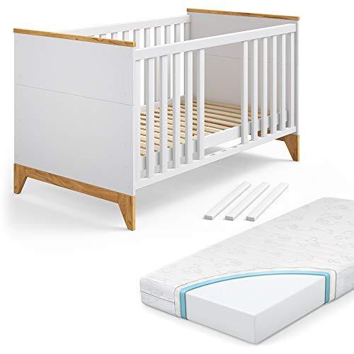VITALISPA Babybett Malia Kinderbett Gitterbett Beistellbett Jugendbett 140x70 cm inklusive Matratze 3 in 1 - Babybett, Kinderbett, Juniorbett