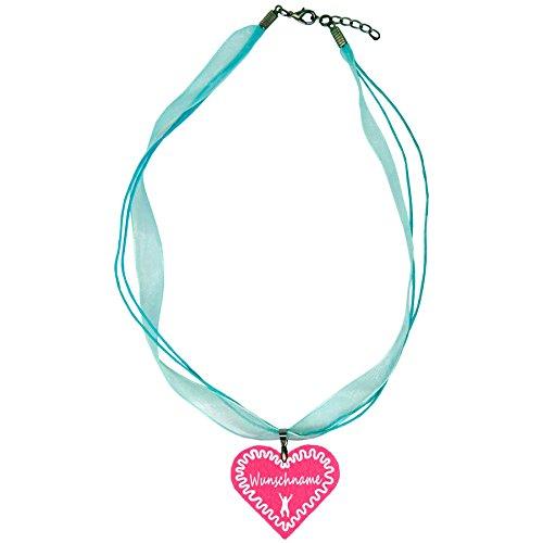 benobler Trachtenschmuck Trachtenkette Organzaband himmelblau mit Filz Herz Damen Dirndlkette Organzakette Oktoberfest Wunschaufdruck (Herz - pink)