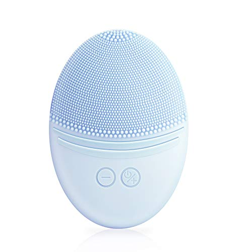 EZBASICS Facial Cleansing Brush, Waterproof Sonic Vibrating Face Brush for Deep Cleansing, Gentle Exfoliating and Massaging, Inductive charging (Blue)