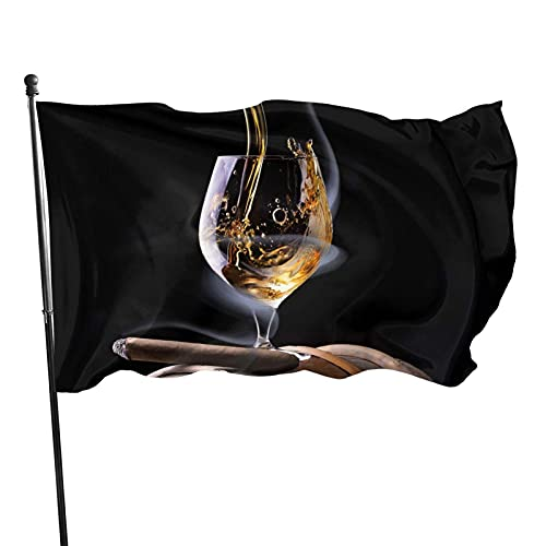 Bandera de jardín de vino y cigarros Bandera de interior al aire libre 3 x 5 pies, banderas de playa duraderas y resistentes a la decoloración con encabezado, fácil de usar