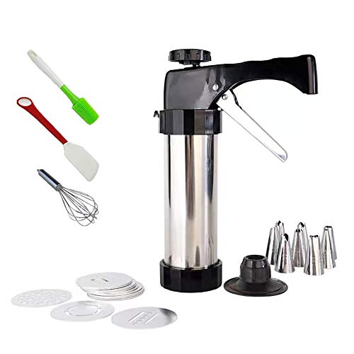Cookie Press Gun, w/13 Stainless Steel Disc Shapes Spritz Cookie Maker Kits