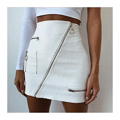 DHDHWL spódnica Spódnice PU High Waist Ołówek Spódnice Vintage Odzież Lato Mini Krótka Spódnica Zipper Streetwear minispódniczka (Color : White, Size : L)