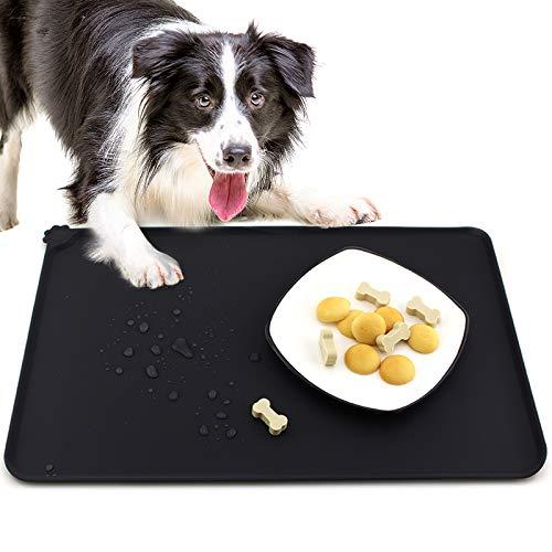 GeeRic Napfunterlage Hund Katzen Silikon Fütterung Matte wasserdichte und rutschfeste,Futtermatte aus Silikon mit Rand 47x30cm,Schwarz