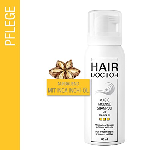 Hair Doctor Magic Mousse Shampoo mit Inca Inchi Öl eines der wertvollsten Öle der Welt Neues Shampoo-Erlebnis Einzigartige Technologie Ohne Silikone praktische Reisegröße 50 ml