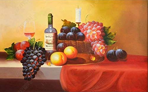 Wall Murals Wallpaper 3D Effects Custom Photo Mural Red Wine Fruit Candle Holder Oil On Canvas Style Wall Murals Wallpaper for Bedrooms Livingroom Wall Mural Tv Background Home Decor 350x250cm