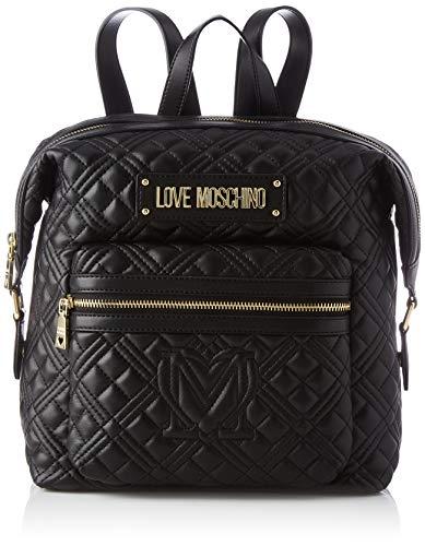 Love Moschino Damen Precollezione ss53 PU Rucksack New Shiny Quilted, Schwarz, Medium