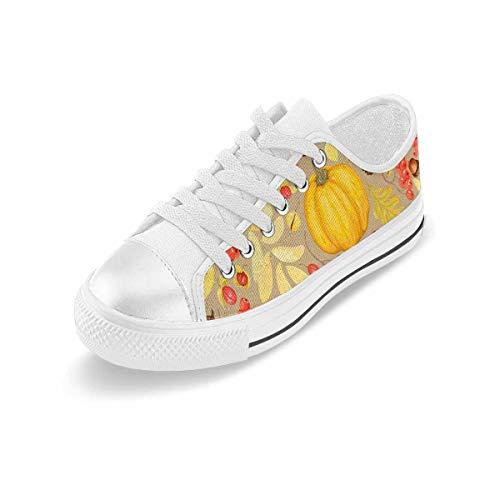 INTERESTPRINT Women's Lace Up Low Cut Canvas Shoes Walking Shoes Tennis Shoes Autumn Pumpkins Acorns 11 B(M) US
